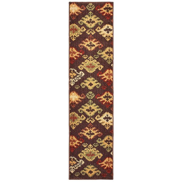 Isabel Tribal Ikat Brown/Gold Area Rug by Charlton Home