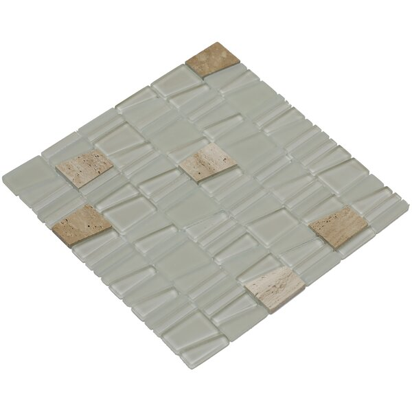 Avery 12 x 12 Glass/Stone Mosaic Tile in Beige by Mirrella