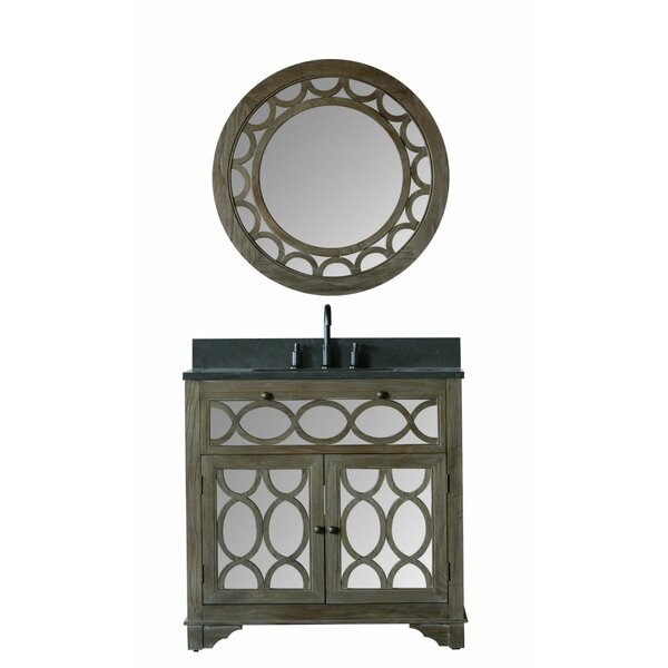Clarkston 36 Moon Stone Single Bathroom Vanity Set with Mirror by Bungalow Rose