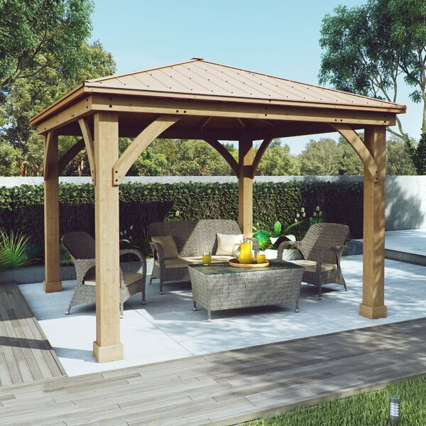 Meridian 12 Ft. W x 12 Ft. D Solid Wood Patio Gazebo with Aluminum Roof by Yardistry