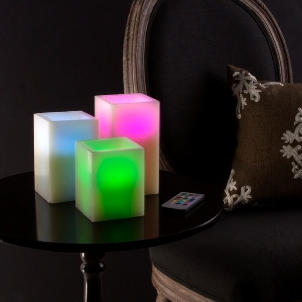 3 Piece Square Color Changing Scented Flameless Candle Set by Lavish Home