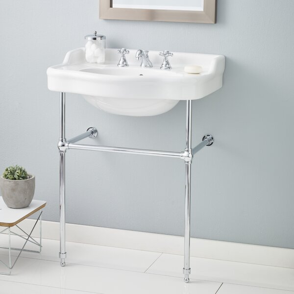 Metal 28 Console Bathroom Sink with Overflow by Cheviot Products