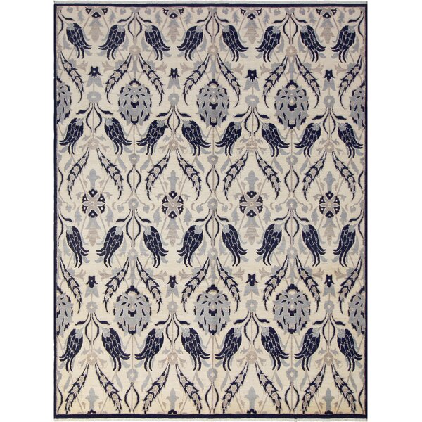 One-of-a-Kind Abelardo Peshawar Hand Knotted Wool Silver/Navy Area Rug by Isabelline