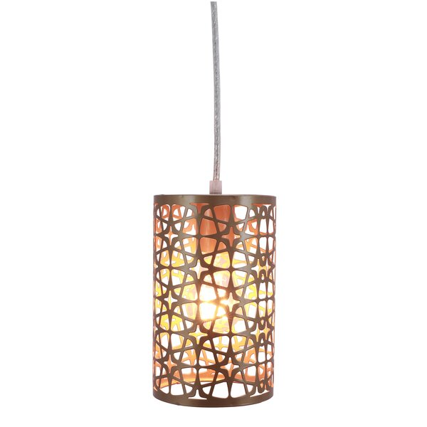 Burch Laser Cut Plated Metal 1-Light Cylinder Pendant by Wrought Studio