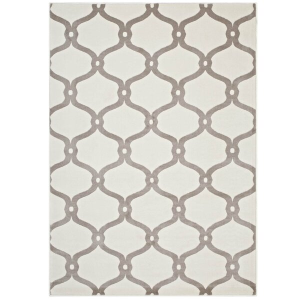 Dilorenzo Chain Link Transitional Trellis Beige/Ivory Area Rug by Breakwater Bay