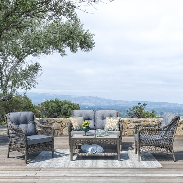 Pelletier 4 Piece Rattan Sofa Seating Group with Cushions by Bay Isle Home