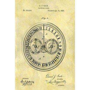 'D.J. Gale Calendar Clock' Graphic Art Print on Canvas by East Urban Home