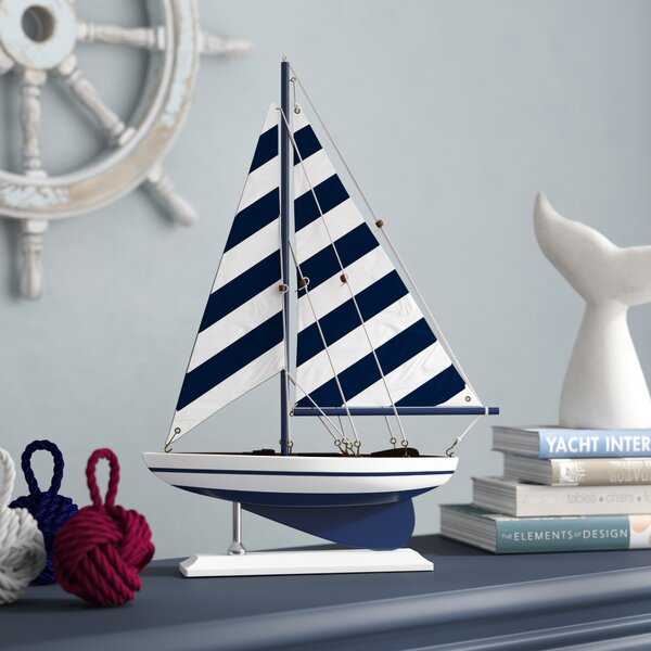Fruitland Striped Pacific Sailer Model Yacht by Beachcrest Home
