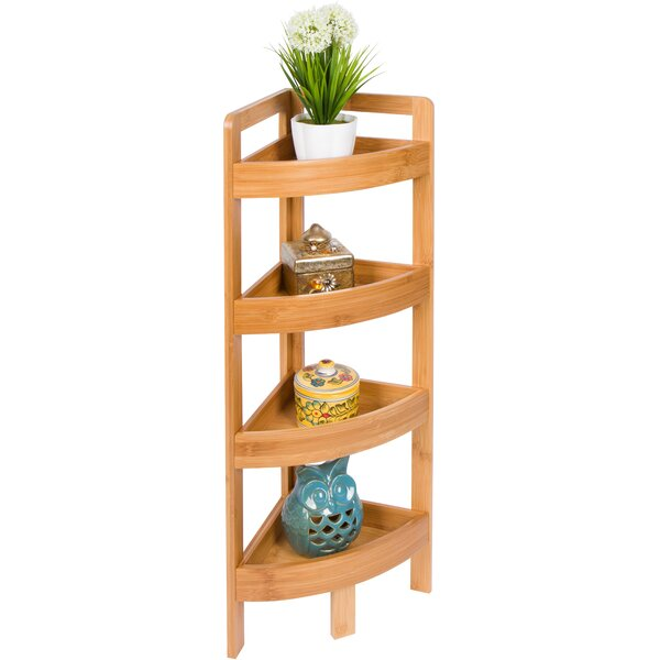 4 Tier Bamboo Storage Corner Unit Bookcase by Rebrilliant