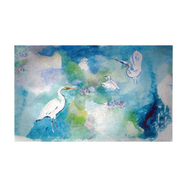 Louque Three Egrets 30 x 50 Non-Slip Indoor Outdoor Door Mat