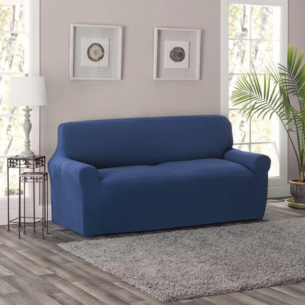 Full/Queen Box Cushion Loveseat Slipcover by Breakwater Bay