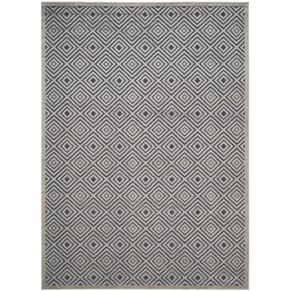 Mcgruder Cream/Navy Indoor/Outdoor Area Rug by Brayden Studio
