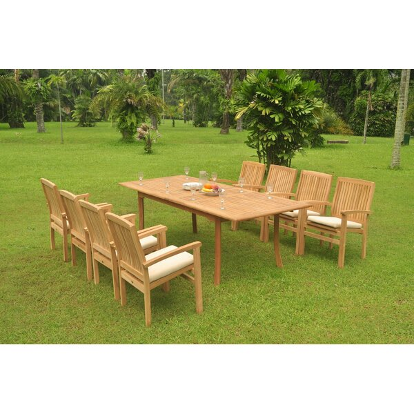 Newburg 9 Piece Teak Dining Set by Rosecliff Heights