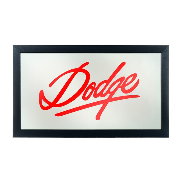 Dodge Signature Framed Logo Accent Mirror by Trademark Global