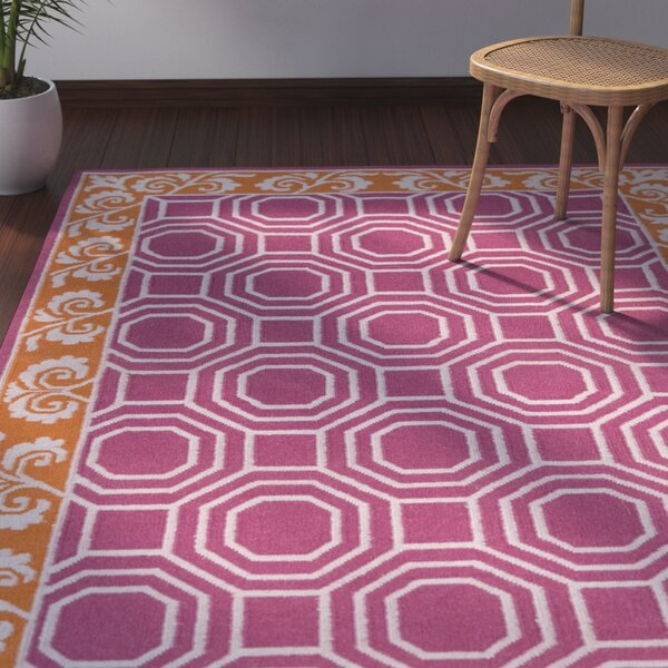 Morehead Magenta Geometric Area Rug by Bay Isle Home