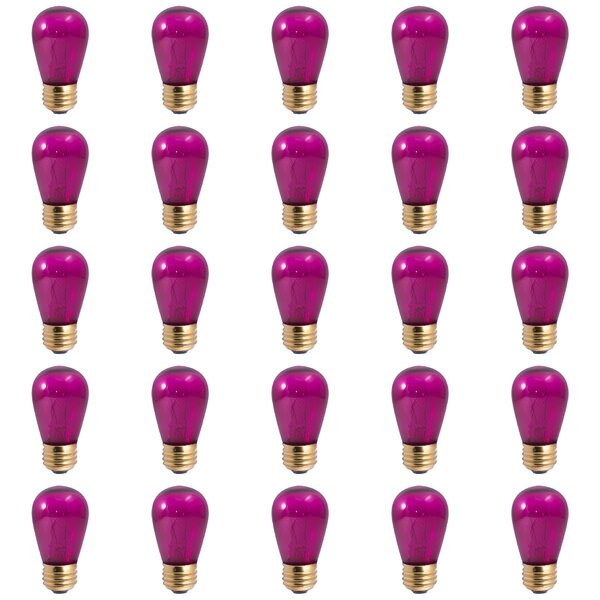 11W E26 Dimmable Incandescent Light Bulb Transparent Pink (Set of 25) by Bulbrite Industries