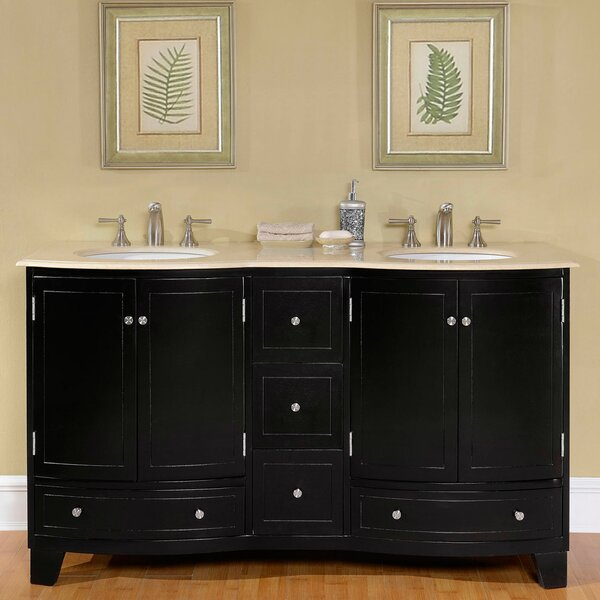 "silkroad exclusive 60"" double sink cabinet bathroom vanity set"