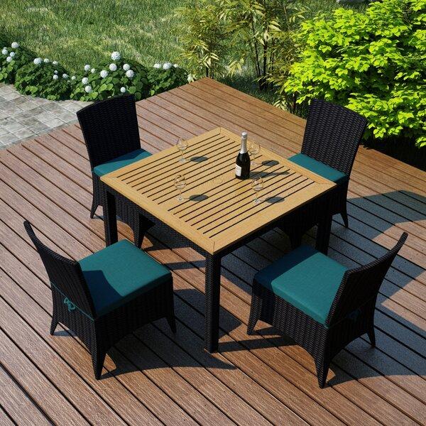 Arbor 5 Piece Teak Dining Set with Sunbrella Cushions by Harmonia Living