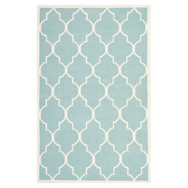 Dhurries Hand-Woven Wool Light Blue/Ivory Area Rug by Safavieh