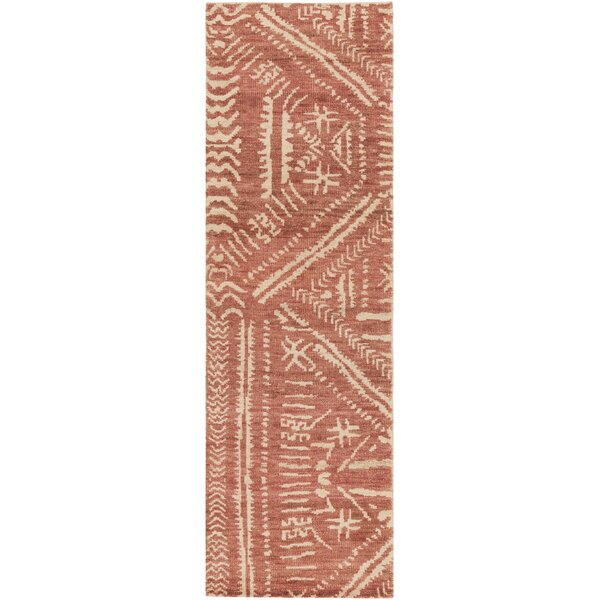 Amerie Hand-Knotted Rust/Beige Area Rug by Bloomsbury Market