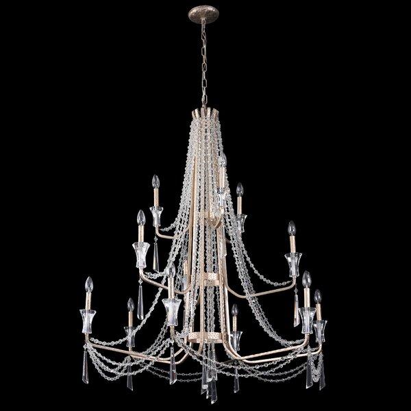 Jarrett 12 - Light Candle Style Tiered Chandelier by Rosdorf Park Rosdorf Park