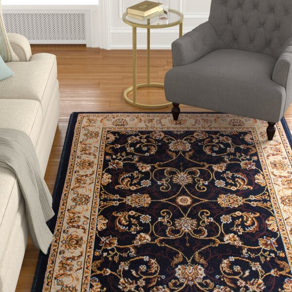 Lilly Traditional Border Ebony/Ivory Area Rug by Astoria Grand