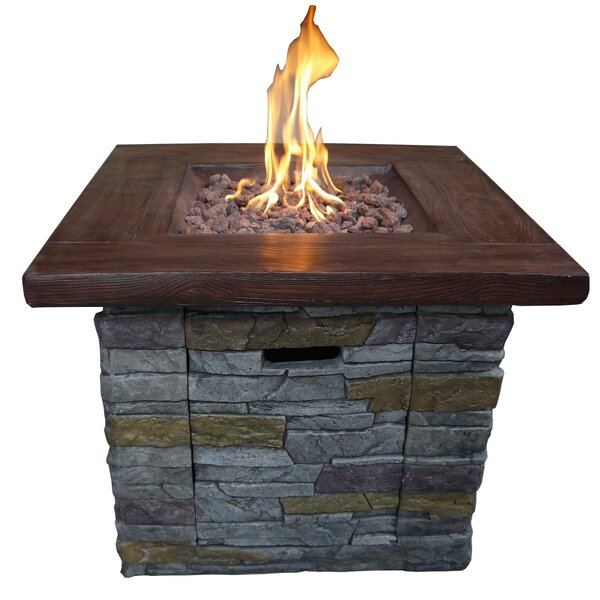 Davey Stone Propane Fire Pit Table by Loon Peak