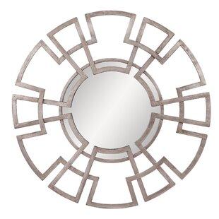 Orren Ellis Folse Round Foiled Lattice Accent Mirror