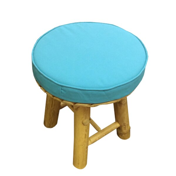 Lapithos Bamboo Accent Stool with Cushion by Bay Isle Home