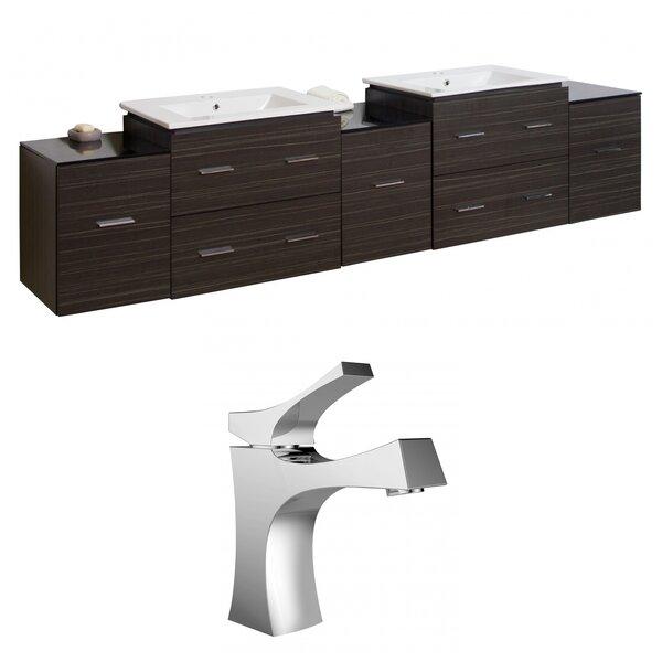 Kyra 90 Rectangular Wood Double Bathroom Vanity Set with Glass Top by Orren Ellis