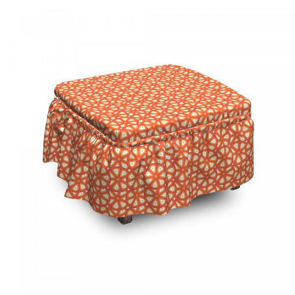 Citrus Grapefruit Slices Ottoman Slipcover (Set Of 2) By East Urban Home