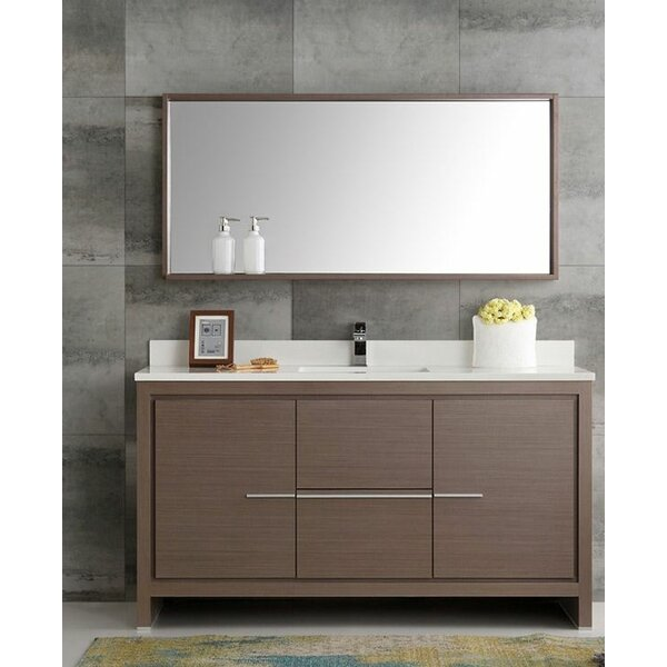 Trieste 60 Allier Single Modern Sink Bathroom Vanity Set with Mirror by Fresca