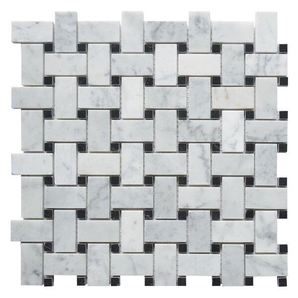 Carrara Honed Basketweave 1 x 2  Marble Mosaic Tile in White by Matrix Stone USA