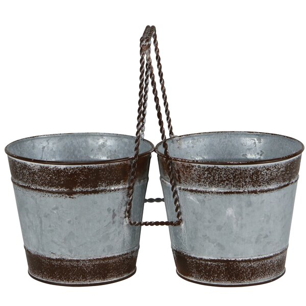 Biarritz 2 Pot Planter with Center Handle by Gracie Oaks