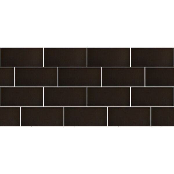 Secret Dimensions 3 x 6 Glass Subway Tile in Frosted Bronze by Abolos