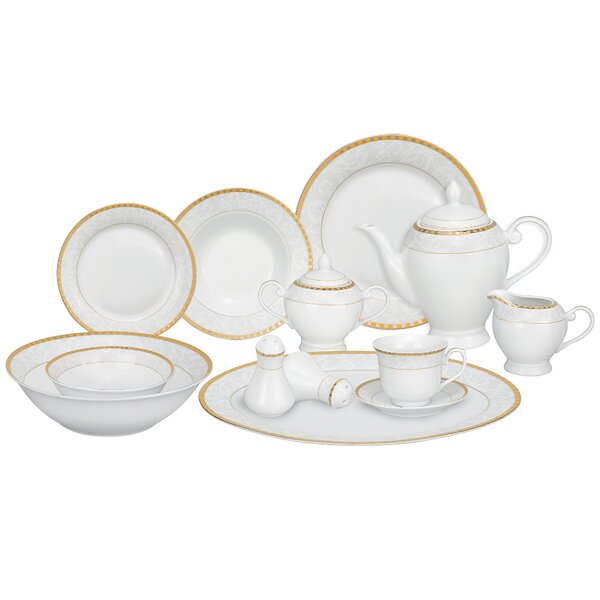 Ricamo Porcelain 57 Piece Dinnerware Set, Service for 8 by Lorren Home Trends