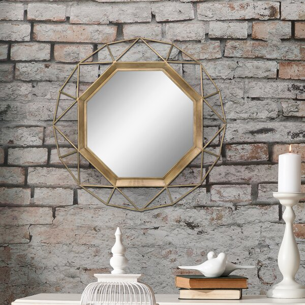Okeefe Geometric Metal Frame Hanging Accent Mirror with Mounting Brackets by Wrought Studio