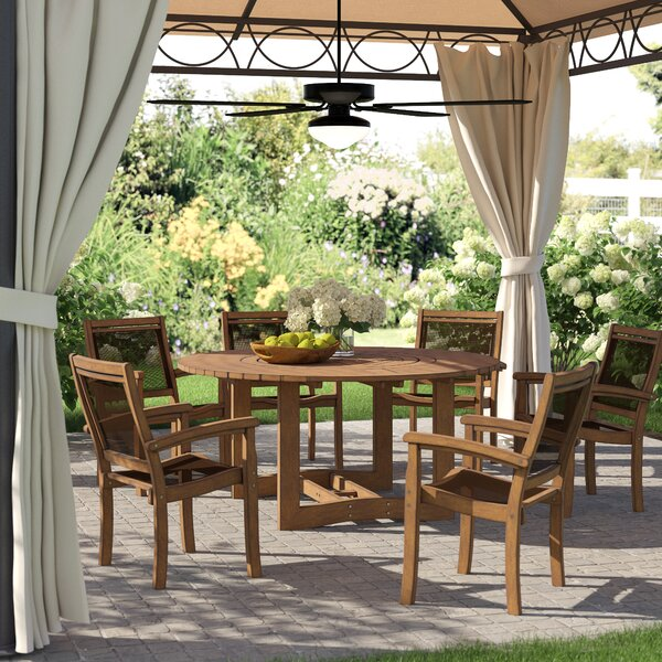 Tovar Eucalyptus and Sling Lazy Susan 7 Piece Dining Set by Beachcrest Home