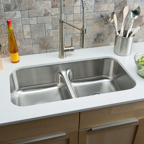 Classic Chef 32.5 L x 18.13 W Double Bowl Undermount Kitchen Sink by Hahn