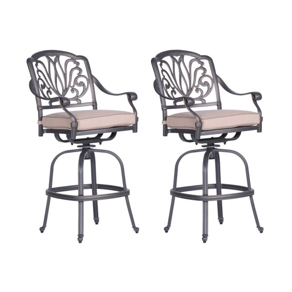 Bean Swivel Patio Bar Stool with Cushion (Set of 2) by Fleur De Lis Living