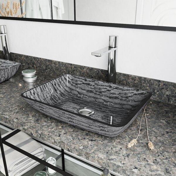 Titanium Gray Ceramic Rectangular Vessel Bathroom Sink with Faucet