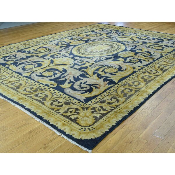 One-of-a-Kind Braylon Old Spanish Savonnerie Cond Handwoven Blue Wool Area Rug by Isabelline
