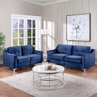 Turkol 2 Piece Velvet Living Room Set by Everly Quinn