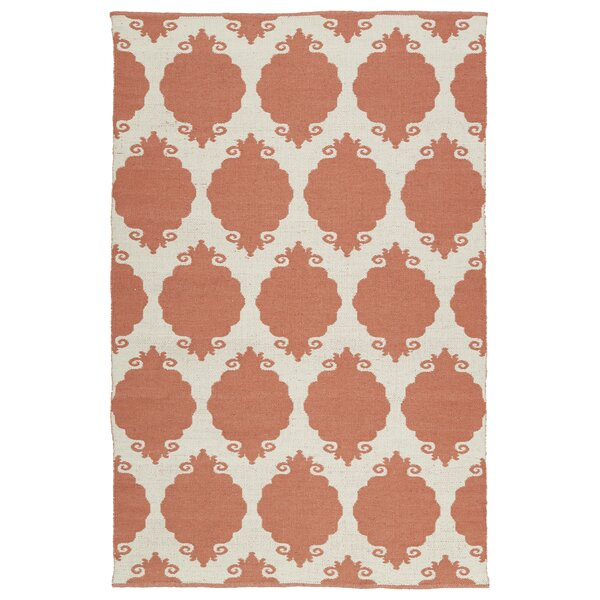 Dominic Cream/Salmon Indoor/Outdoor Area Rug by Ebern Designs