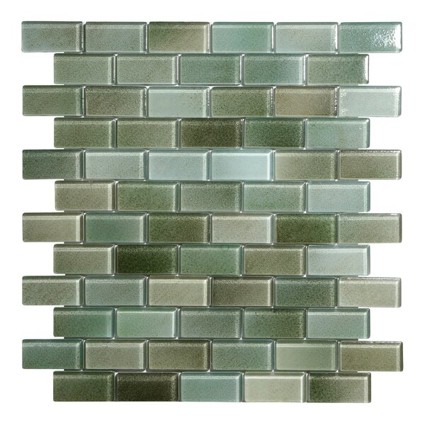 Hi-Fi Offset Brick 1 x 2 Glass Mosaic Tile in Green/Brown/Beige by Kellani