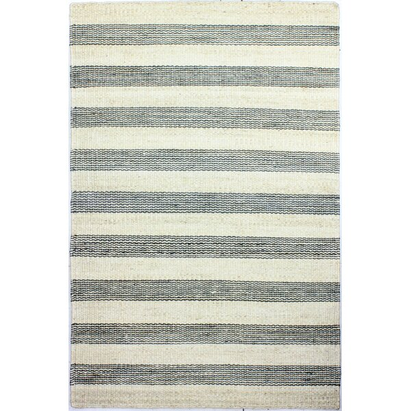 Bluffton Hand-Knotted Cream/Grey Area Rug by Breakwater Bay