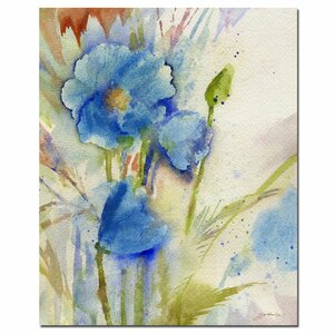 'Magical Blue Poppy' by Sheila Golden Painting Print on Canvas by Trademark Fine Art