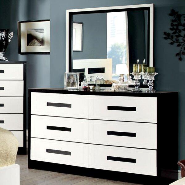 Verzaci 6 Drawer Stabdard Dresser with Mirror by Hokku Designs