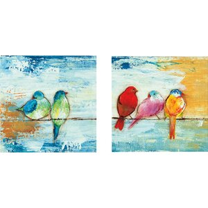 'Song Birds II' 2 Piece Painting Print on Wrapped Canvas Set by Red Barrel Studio
