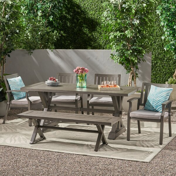 Oyer Outdoor Modern 6 Piece Dining Set with Cushions by Gracie Oaks